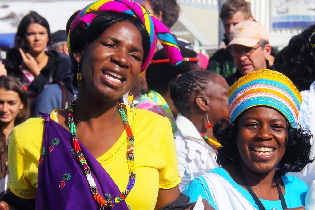 Two African women smiling