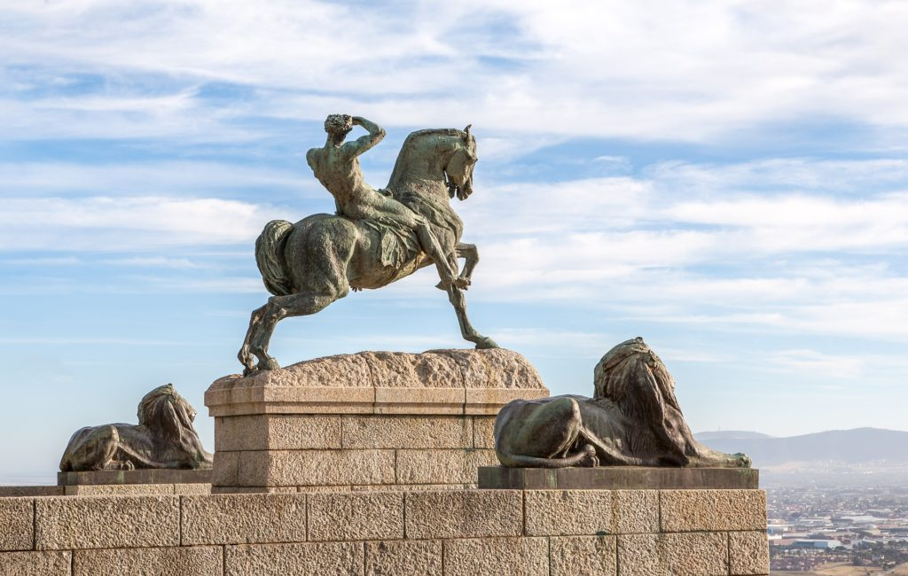 Statue of man sitting on a horse in South Africa