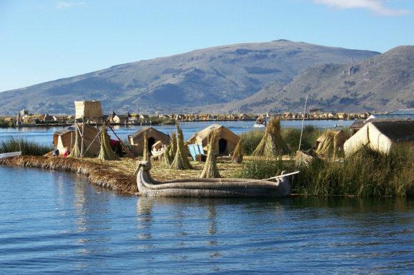 Floating village Titicaca Peru