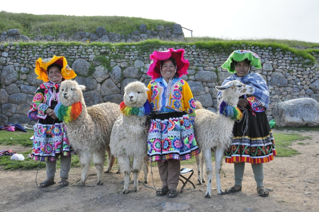 Locals with their llamas