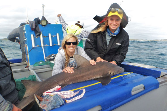 Happy girls with little shark