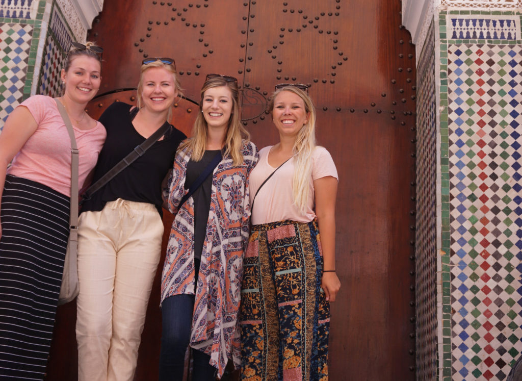 4 girls smiling in Morocco