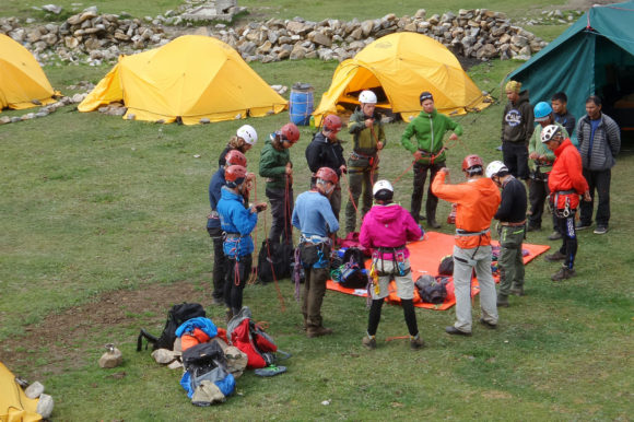 students getting ready for a hike in Himalayas